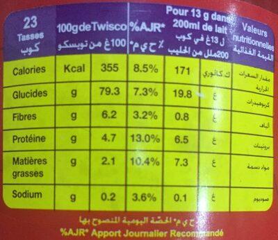 Twisco chocolat - Informations nutritionnelles