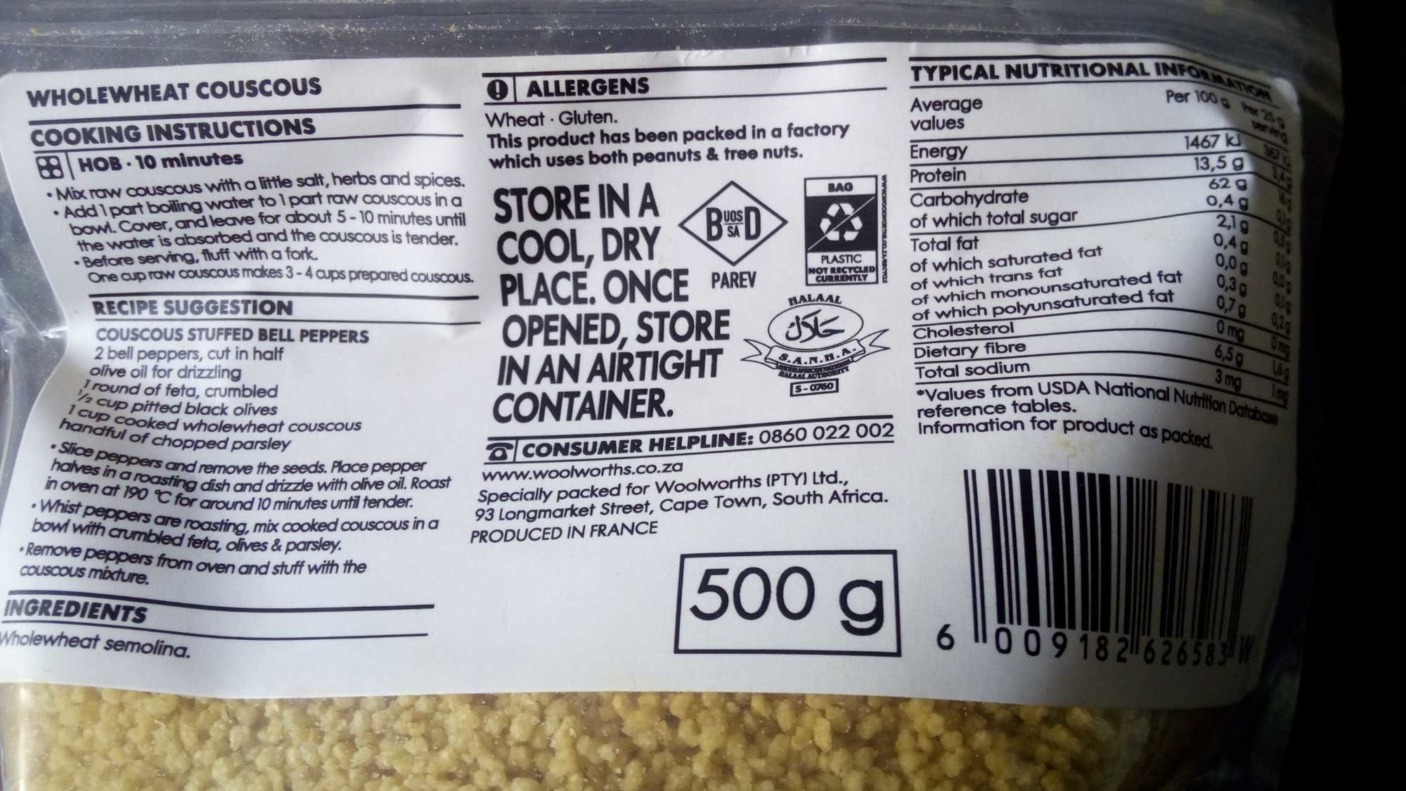 Wholeweat Couscous Woolworths 500g