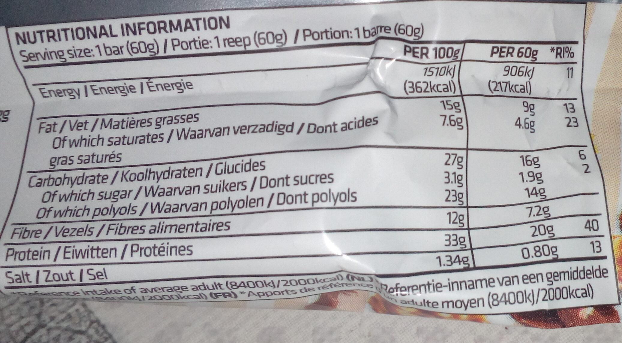 Trust crunch cacahuètes caramel salé - Nährwertangaben