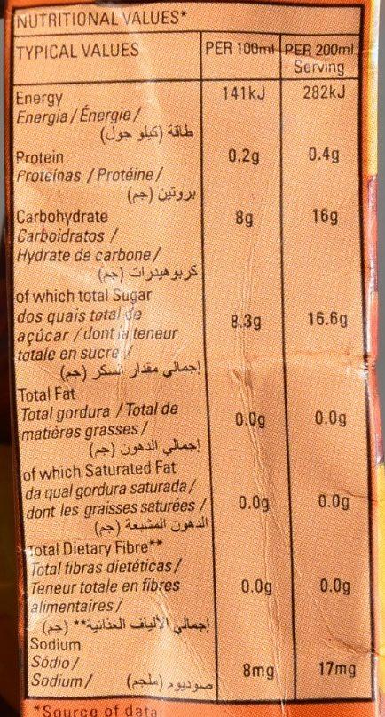Mango Nectar Blend 40% Fruit Juice - Nutrition facts - en