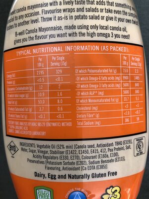B-Well Canola Mayonnaise Original Tangy - Informations nutritionnelles - en