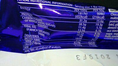 Usn Protéine Delite Toffee Almond 18 X 50 G - Informations nutritionnelles - fr