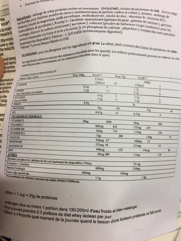 Usn Protéine Diet Whey Isolean Tarte a La Fraise 454 G - Nutrition facts