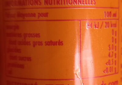 BOS ice tea Pêche - Nutrition facts - fr