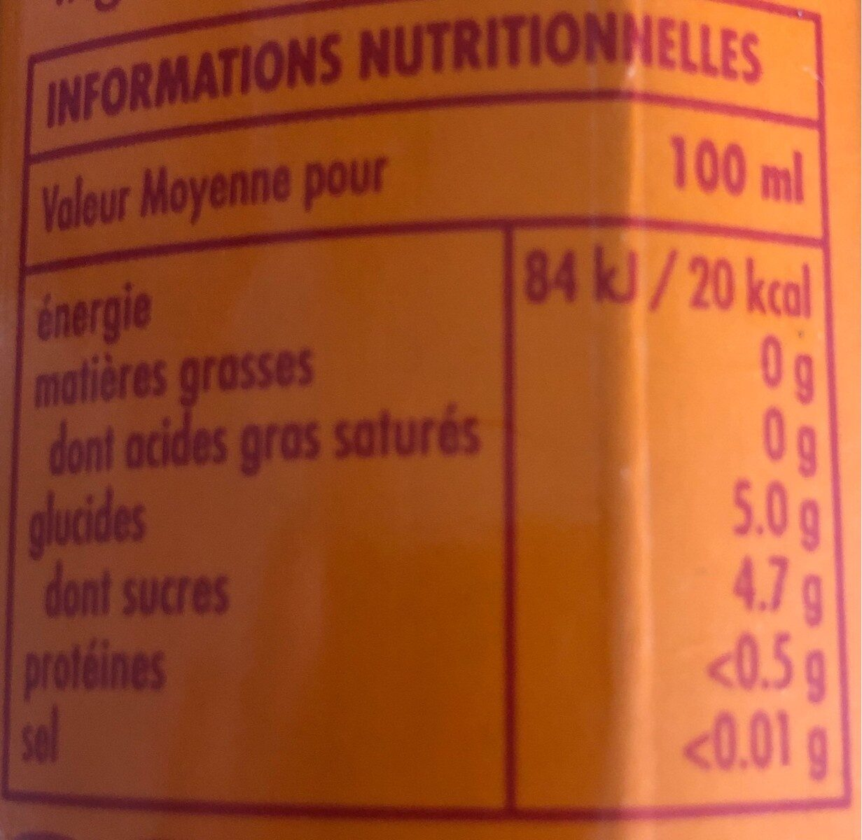 BOS ice rooibos peach - Informations nutritionnelles - fr