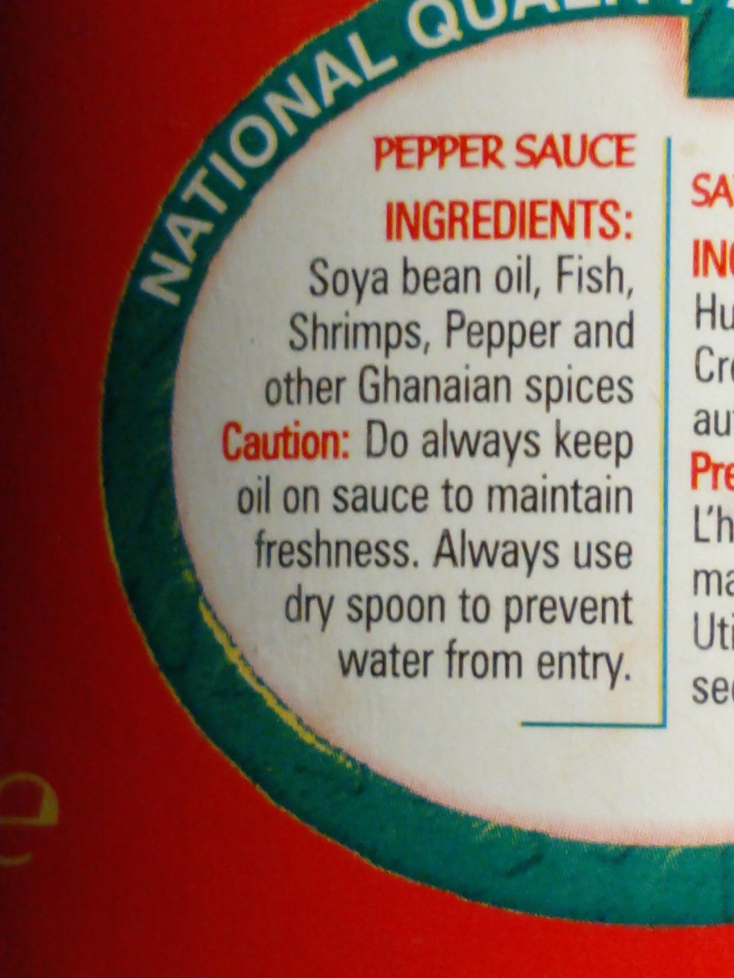 Joecarl instant pepper sauce - Ingrédients - en