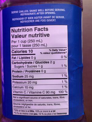 Canneberge et framboise - Informations nutritionnelles - fr
