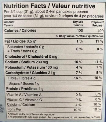 Whole Grain Pancake and Waffle Mix - Informations nutritionnelles - en
