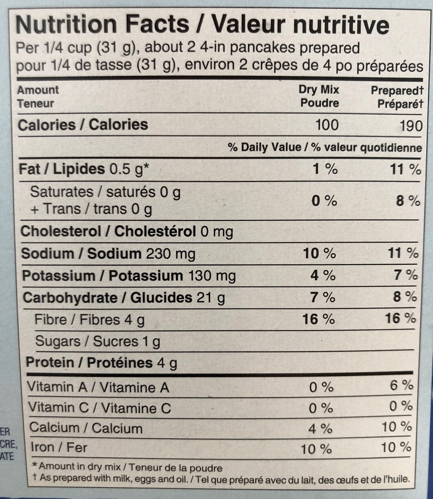 Whole Grain Pancake and Waffle Mix - Nutrition facts - en