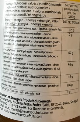 Mermelada De Mango - Informations nutritionnelles