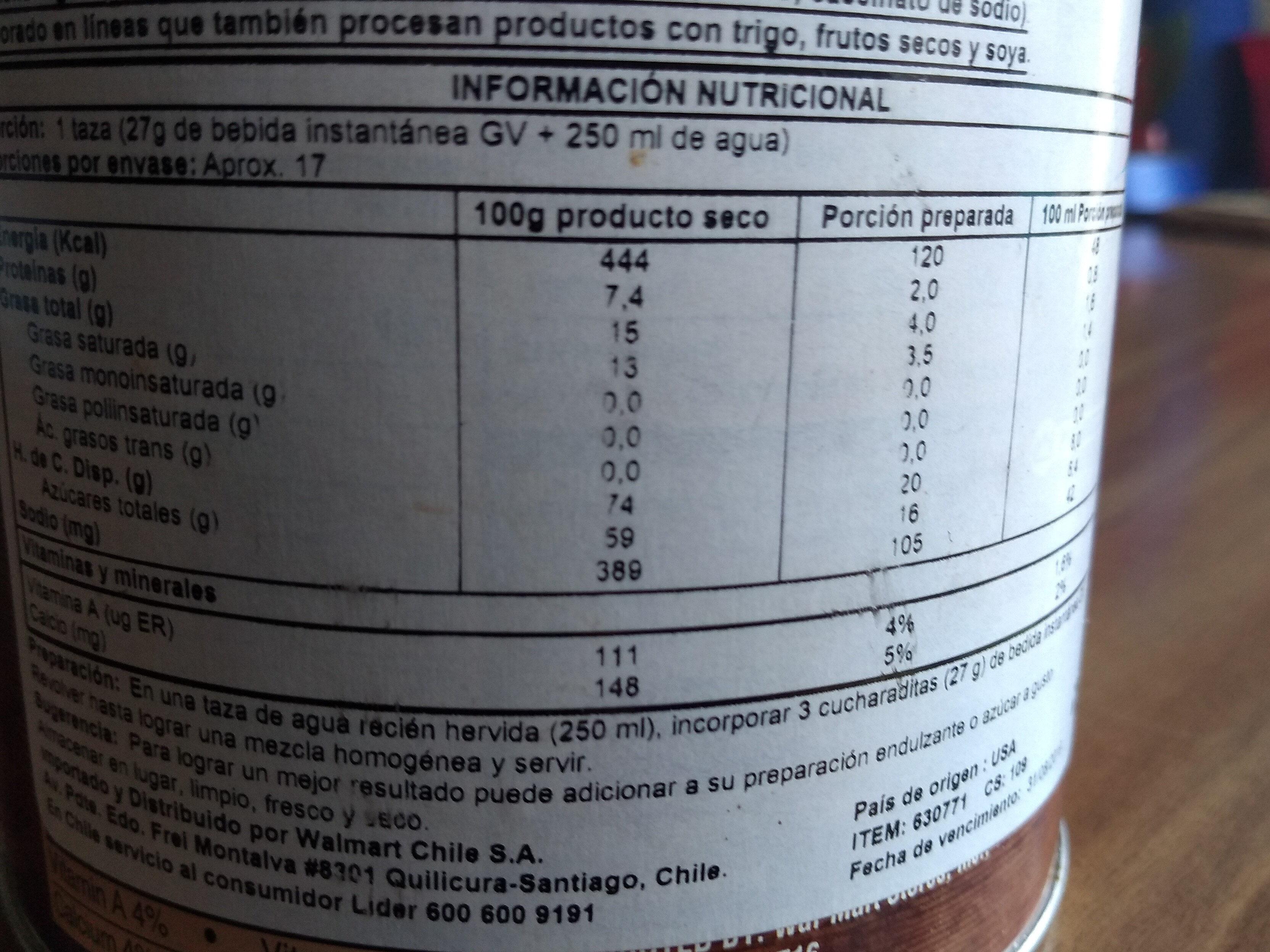 cappuccino french vanilla - Informations nutritionnelles - en