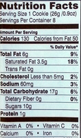 Sausalito - Nutrition facts
