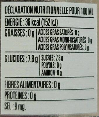 Phoenix Panache - Nutrition facts - fr