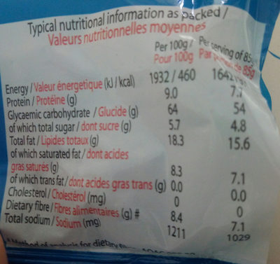 Noodles saveur de crevette - Informations nutritionnelles