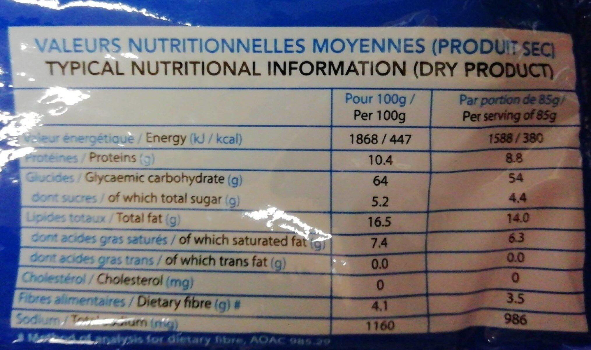 Noodles saveur de crevette - Valori nutrizionali - fr