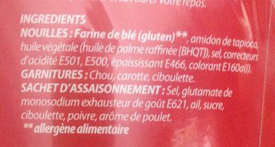 Nouilles Dan Bol Poulet Apollo - Ingredients