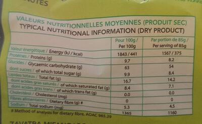 Nouilles instantanées saveur poulet au caramel - Nutrition facts - fr