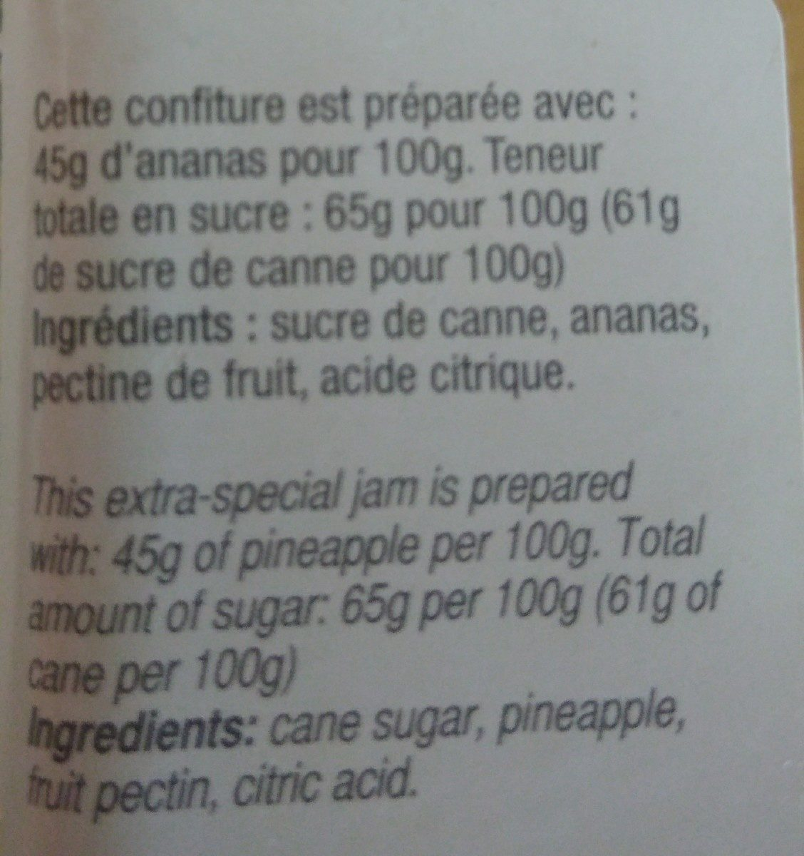 Confiture ananas extra au sucre de canne - Ingredients