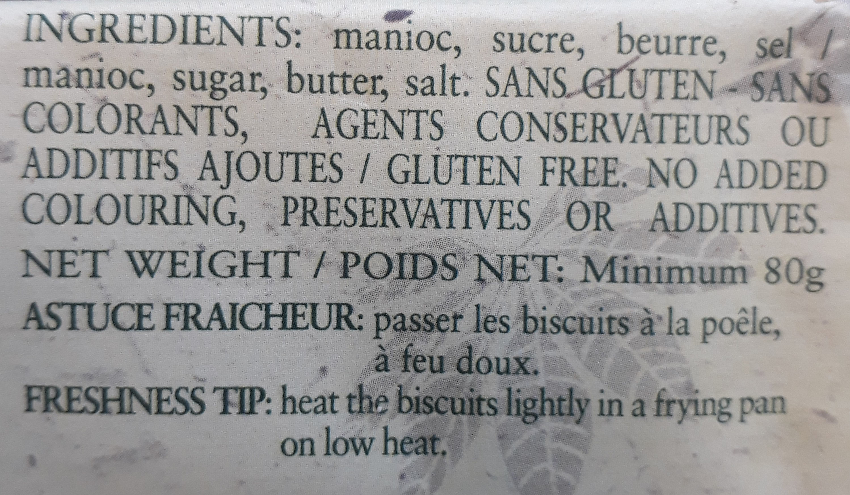 Biscuits Manioc - Ingrediënten