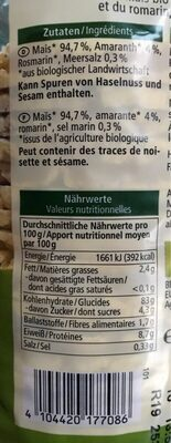 Mais Amaranth Waffeln - Nutrition facts