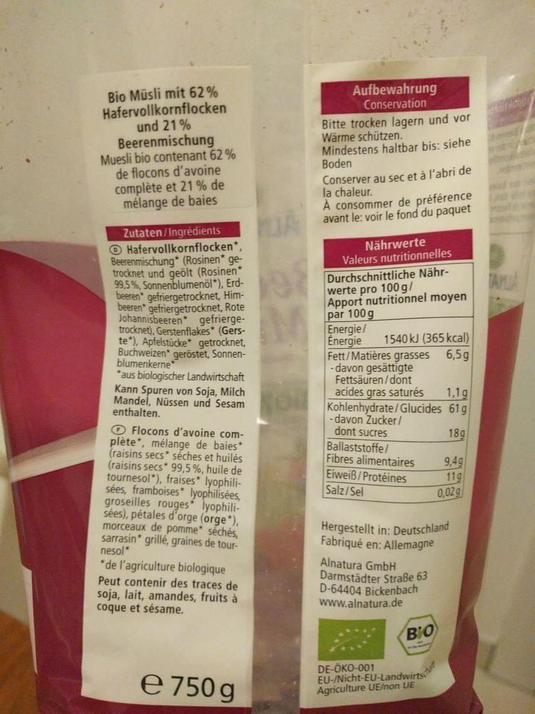Muesli aux baies (Alnatura) - Ingredients - fr