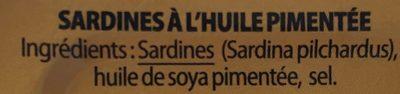 Sardines à l'huiles pimentée - Ingredienti - fr