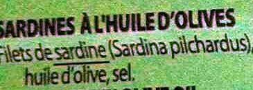 Filets de Sardines à l'huile d'olive - Ingrédients