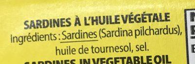 Sardines à l'huile végétale - Ingredients