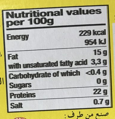 Sardines à l'huile végétale - Nutrition facts