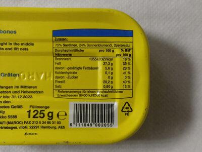Sardines à l huile végétale - Informations nutritionnelles