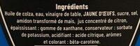Mayonnaise La Traditionnelle à l'huile de colza - Ingrédients - fr