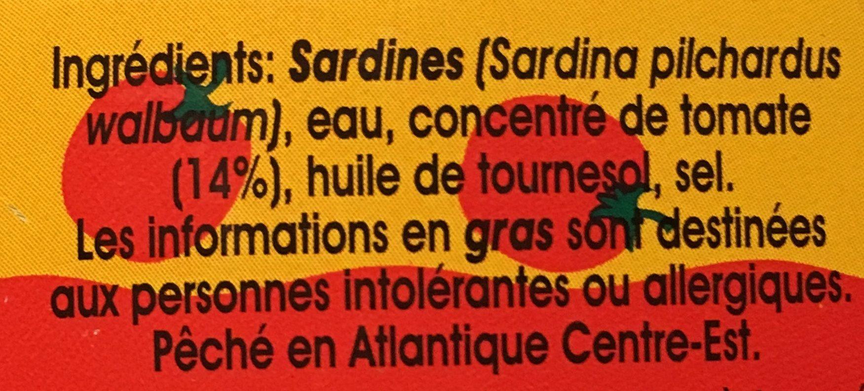 Pilchards sardines à la sauce tomate - Ingrédients - fr