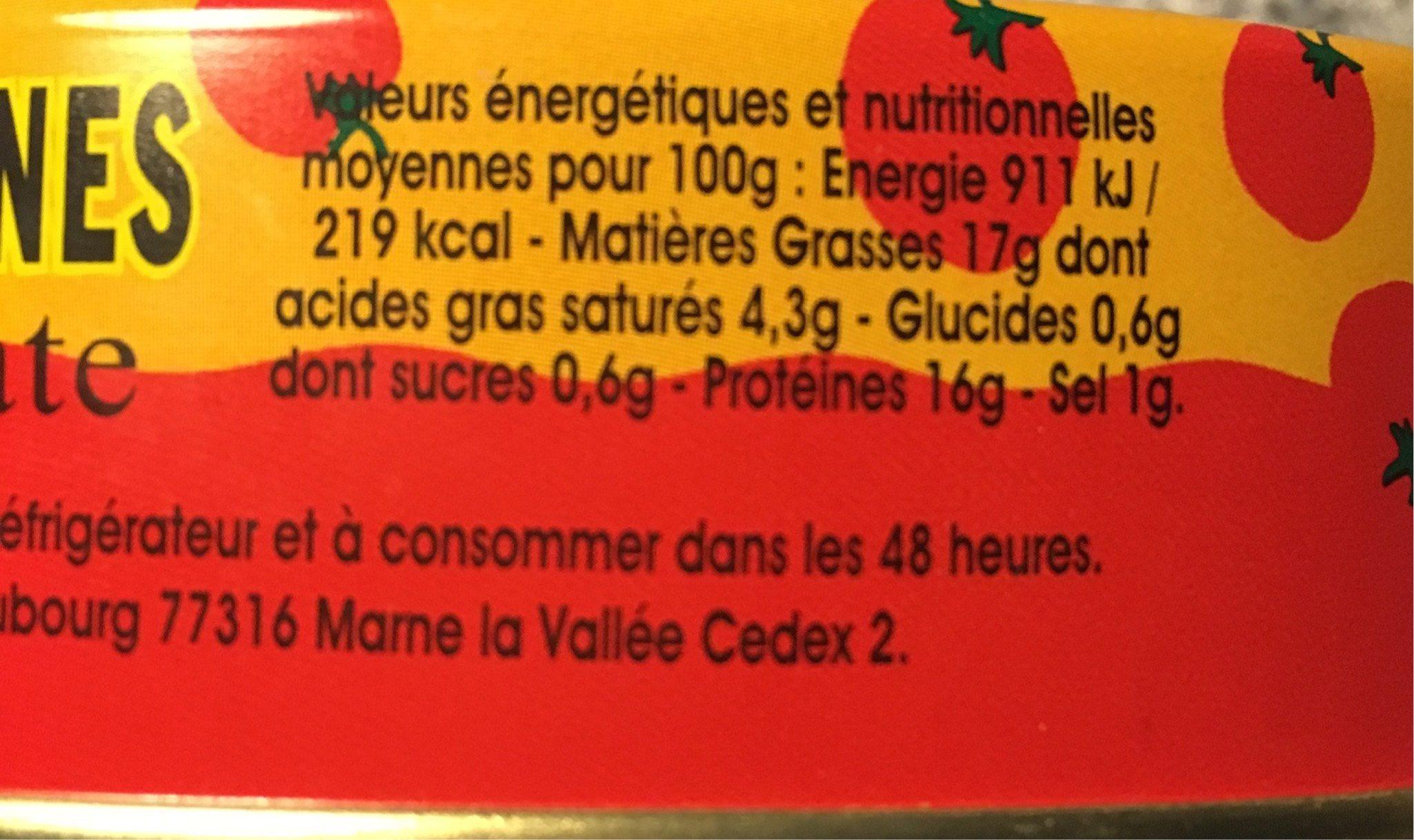 Pilchards sardines à la sauce tomate - Informations nutritionnelles - fr