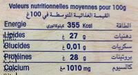 EMMENTAL au lait de vache pasterisé - Nutrition facts - fr