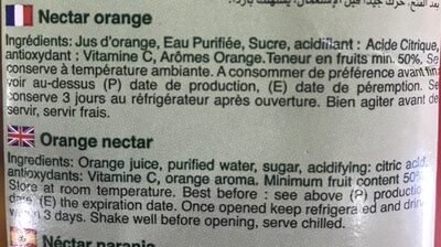 Nectar Orange - Ingredients