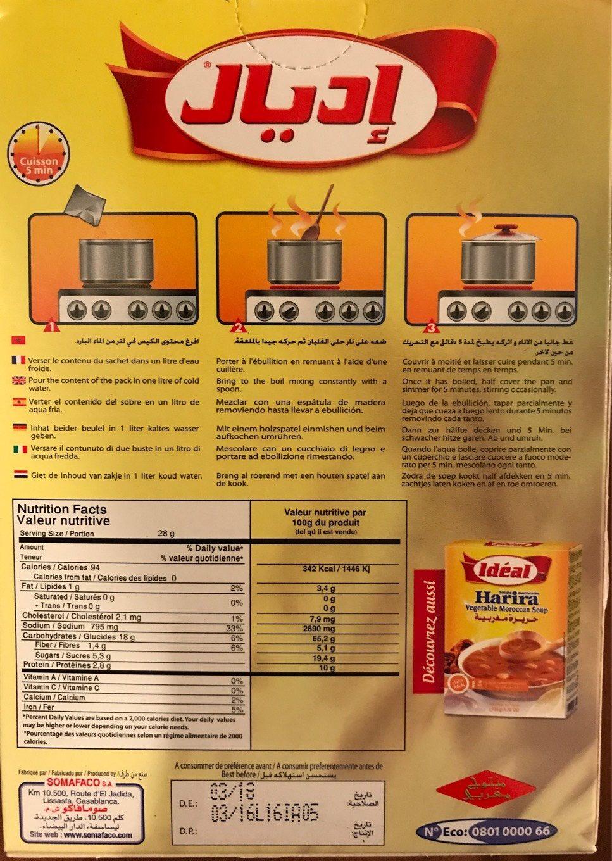 Idéal Soupe Chorba Marocaine 51 G - Nutrition facts