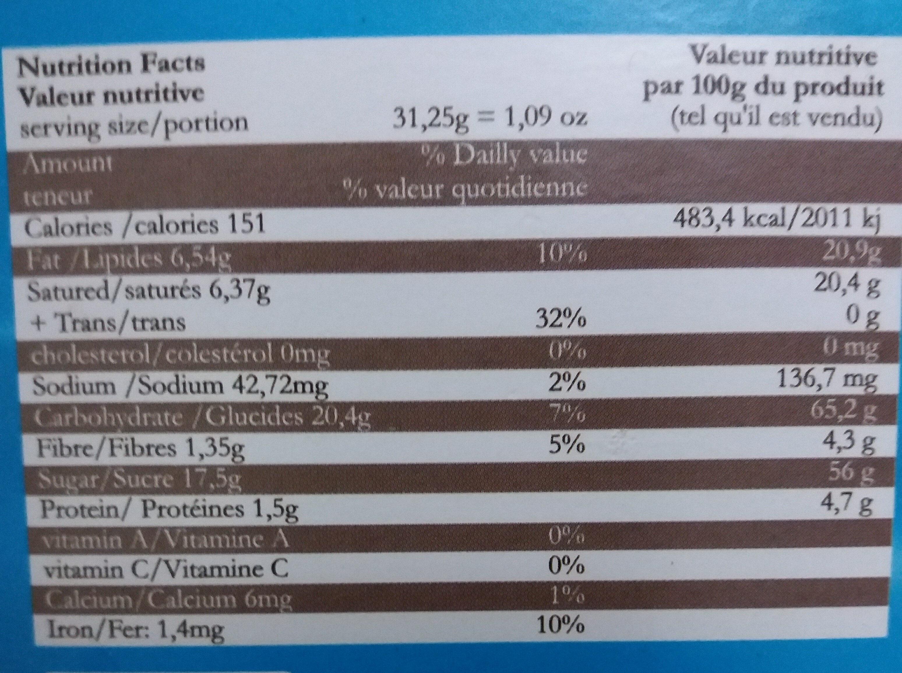 Preparztion en poudre pour mousse - Nutrition facts
