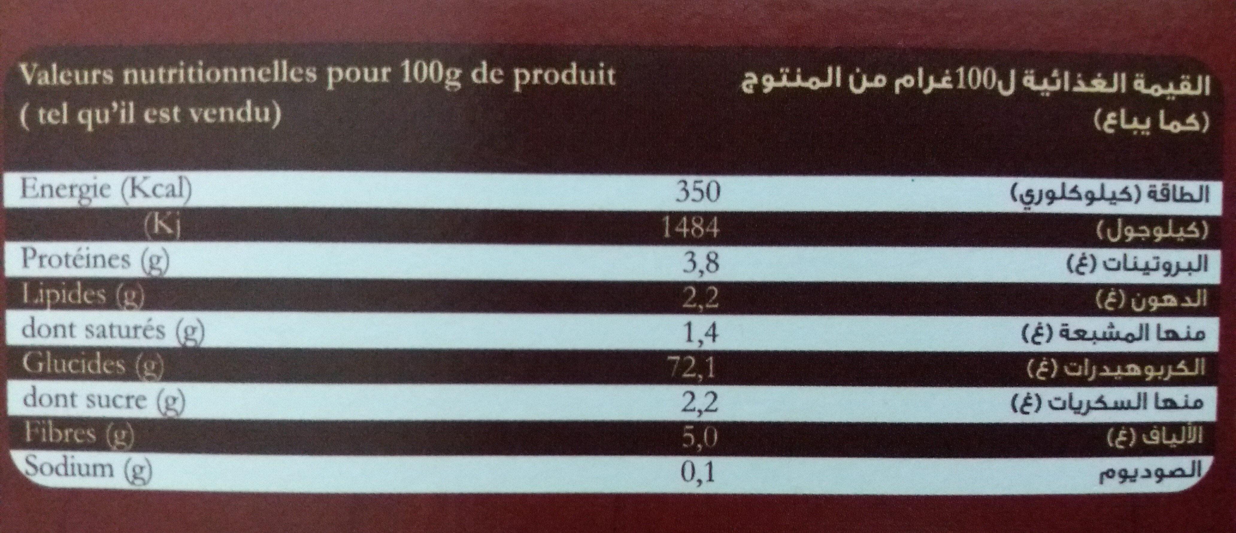 Crème pâtissière - Nutrition facts