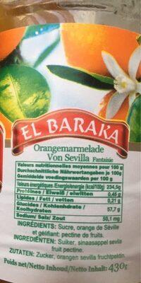 Confiture d'orange EL BARAKA - Nutrition facts