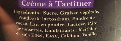 Creme a tartiner - Ingrediënten