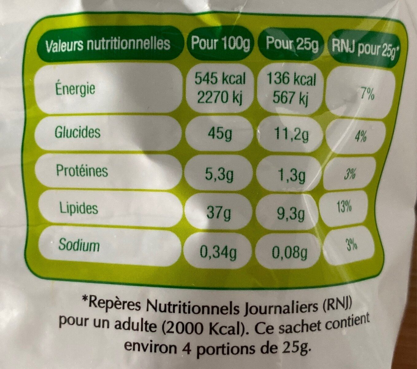 Patatas fritas - Nutrition facts - fr