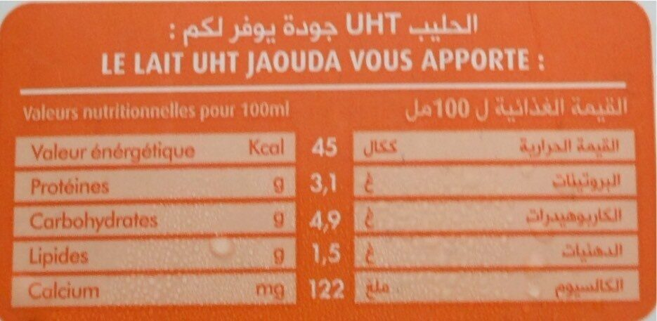 Lait Demi écrème Uht Jaouda - Nutrition facts - fr