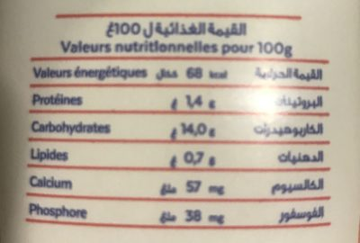 Ghilal - Nutrition facts - fr