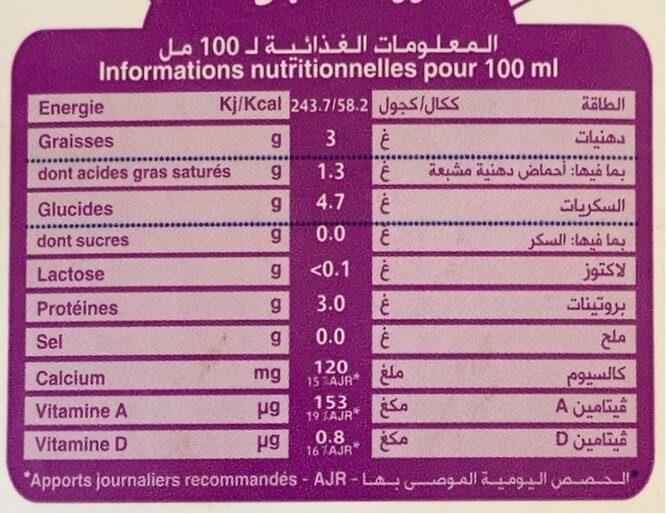 Lait sans lactose - Nutrition facts - fr