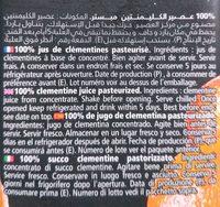 100 % teneur en fruits clémentine - Ingredients