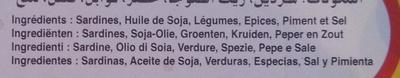 Sardines à l'huile de soja aux légumes, piment et épices - Ingrediënten