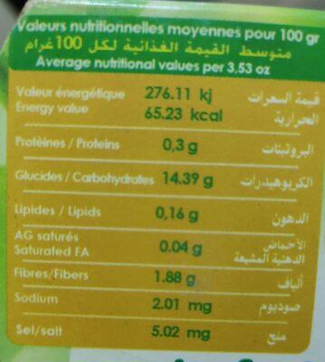 Pomme banane - Voedingswaarden - fr