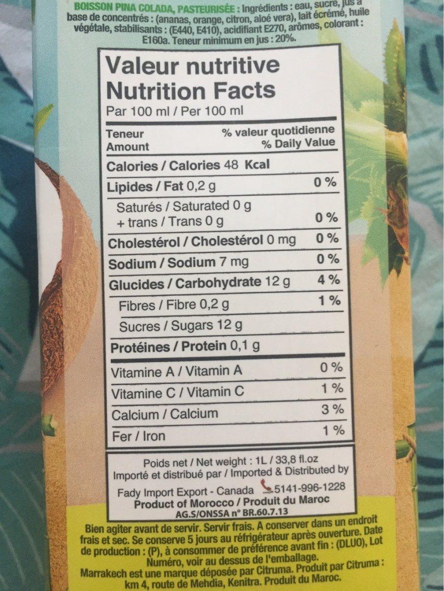 Marrakech Pina Colada Drink - Nutrition facts