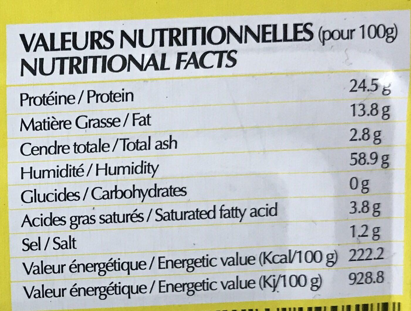 Sardines à l'Huile Végétale - Informations nutritionnelles - fr