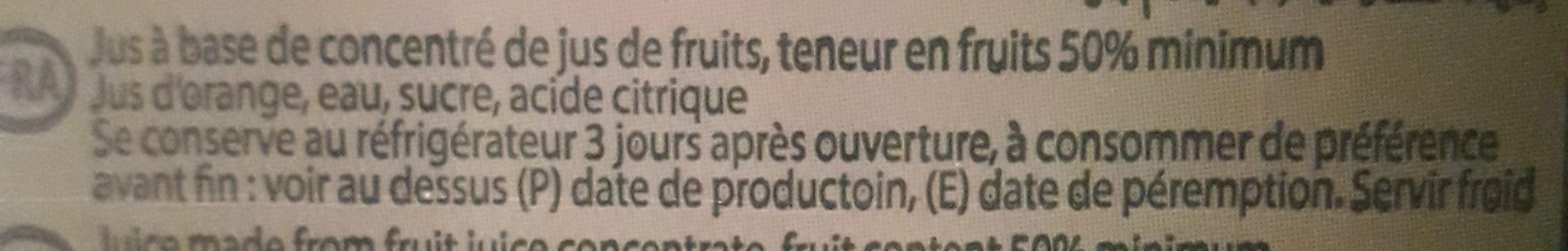 nectar orange - Ingrédients - fr
